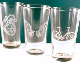 4 Etched Pint Glasses - YOUR CHOICE - Great gift