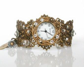Victorian Unique Women Watches Brass Wrist Watch Vintage Inspired Ladies Watches  Swarovski Watch for Woman Victorian Gothic Jewelry