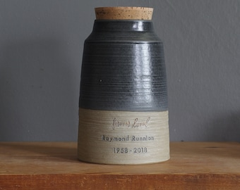 Extra Large Urn (and XXL) human cremains urn for ashes. modern cremation urn. sand stoneware and basalt black shown, custom colors available