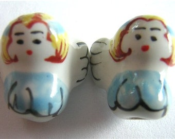 New Pair HANDPAINTED PORCELAIN ANGEL Beads 15x15mm