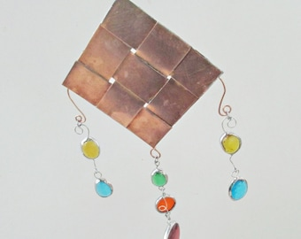 Woven Copper and Stained Glass Mobile Garden or Home Decor