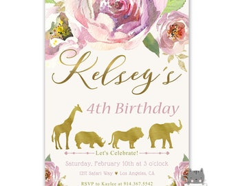 Girl's Safari Birthday Invitations, Safari Theme Birthday Party, 4th Birthday, 5th Birthday, 6th Birthday, Birthday Invites, Jungle Animals