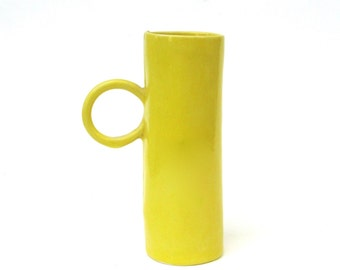 whimsical hand built tall yellow porcelain cup   ...  mid century modern