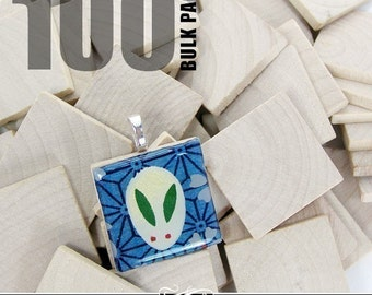 """100 Pack of 1"""" Wood Squares. Use instead of Scrabble Tiles for Pendants, Magnets. Scrapbooking, and More."""