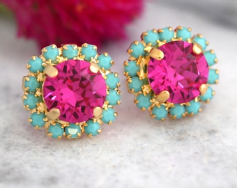 Pink Earrings,Pink Turquoise Studs,Swarovski Crystal stud pink earring,Bridesmaids jewelry,Crystal Earrings,Gift For Her, Pink Studs