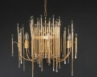 Sciolari Gilt Brass Chandelier Mid Century Modern
