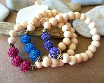 3 Pcs Shamballa Bracelet Set | Shamballa Stack | Stretch Bracelet | Stackable Bracelets | Shamballa Jewels | Shamballa Beads | Disco Ball