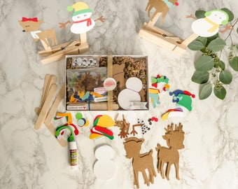Snowman and  Reindeer Christmas Paper Puppet Craft Kit for Kids Kit of 30 Holiday Gift for holiday party, groups of kids