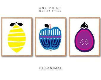 Lemon Art Print, Apple art print, Eggplant art Print, Kitchen wall art, Home decor, Vegetable illustration, Vegetable Print, Fruit Art Print