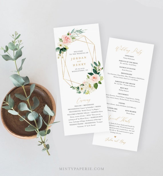 Wedding Program Template,  Instant Download, Printable Order of Service, 100% Editable Text, Floral Geometric Gold Frame, DIY #043-212WP