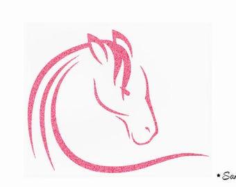 horse head pink paillete applique flex