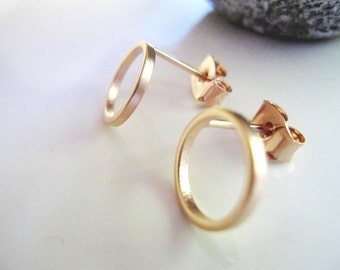 Tiny Rose Gold Earrings, Modern, Post style Earrings, Geometric, Minimalist Jewelry, Redpeonycreations
