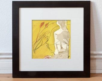 Small picture-Unique 15/15 cm (5.9/5.9 inch) woman, bird