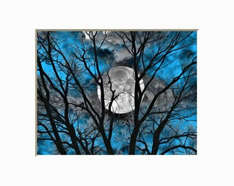 Tree Moon Decor, Blue Gray Moon Wall Art, Bedroom Blue Gray Matted Artwork Picture