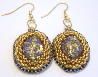 Purple and Gold glitter resin bead embroidery earrings - Antoinette