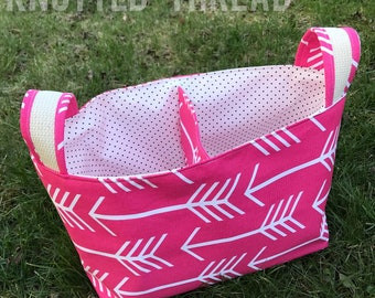 Pink Arrow Divided Basket - Home Storage - Nursery Gift - Baby Shower Gift