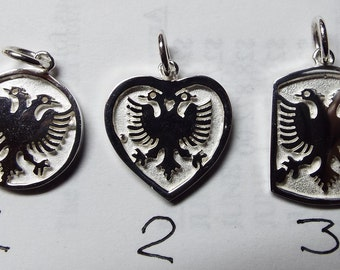albanian eagle,5/8'' size .sterling silver. Rhodium  plated. eag12