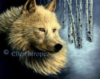CARD, note cards, wolf decor, white wolves, wolves, Ellen Strope, castteam, aspen trees