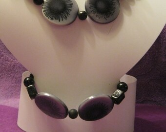 BLACK And GRAY EYES with Black Beads Jewelry Set