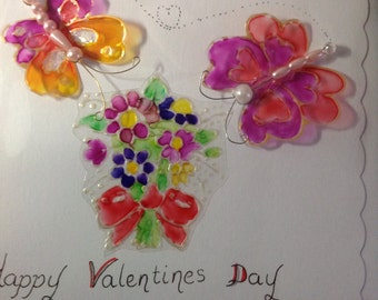 Hand illustrated Valentines Day Card,Two Beaded Butterfly Valentine's  Card
