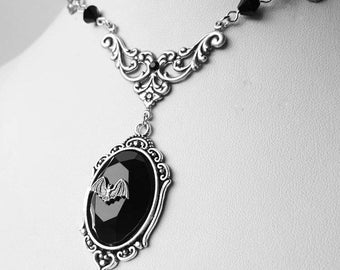 Gothic Bat Jewel Lenore Necklace