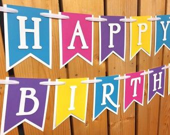 custom multicolor happy birthday banner, banner, birthday banner, happy birthday banner, girl birthday, girl birthday banner, first birthday