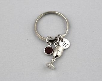 wine glass keychain, sterling silver filled, initial keyring, OPTIONAL birthstone or pearl, wine glass jewelry, wine lover gift, vineyard