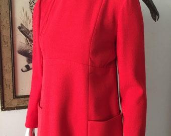 Bright Red Geoffrey Beene 60s Mod Dress