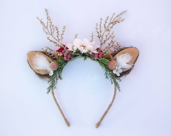 Christmas Holiday Reindeer Antler Headband with ears - M2M made to match Well Dressed Wolf - Tutu Du Monde  - Artificial Furry Ears