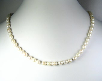 """Freshwater Pearl Necklace Silver 18"""""""