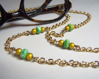 Gold/Green Beaded, Eyeglass Chain, 27 inch Chain, Light Weight Resin Eyeglass Holder, One of a Kind, Eyeglasses Necklace, by Eyewearglamour