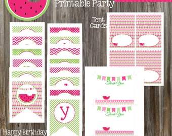 INSTANT DOWNLOAD - WATERMELON Party Package Printable
