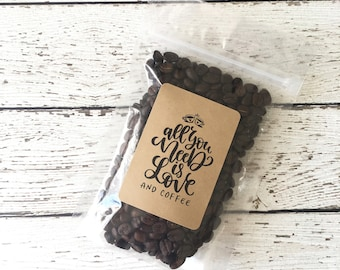 Wedding Coffee Favor Bag and Label, Bridal Shower Favors, Wedding Coffee Favors, All you need is love and coffee Coffee Label, Set of 24