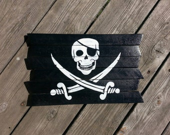 Jolly Roger Pirate Flag painting on reclaimed wood