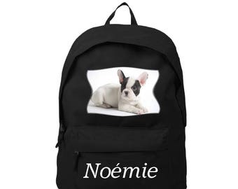 bag has black french Bouldog personalized with name
