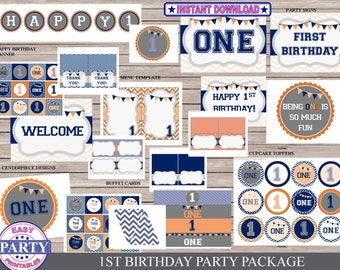 First Birthday Party package, Instant Download, blue and orange, one year old party, boy party, easily print from home, cupcake toppers