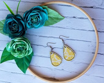 Yellow Lemon Unique Teardrop Synthetic Printed Leather Earrings