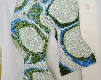 Mens Bow Tie with Marbling Circles of Bright Green and Dazzling Blue Made in Asheville MM-#15-1