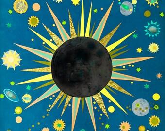 Eclipse Art, Solar Eclipse Art, Science Art, Science Poster, Eclipse Painting, Eclipse Print, Nursery Art, Papercut Collage, Laura Lynne Art
