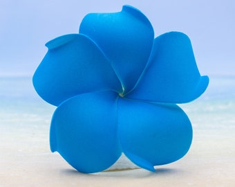 Plumeria Hair Clip, 3 inch, Pink   Blue Flower Clip,    Hair Accessory, Something Blue