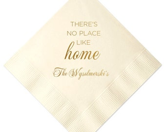 There's No Place Like Home Personalized Housewarming/Gift Napkins (Style 5)