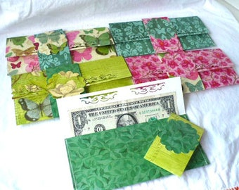 Cash Gift Envelopes Gift Card Holder, Set of 5, Side Folding Decorative Sleeve, Hand Stitched, Reusable and Durable, 3.25 x 7 Inches