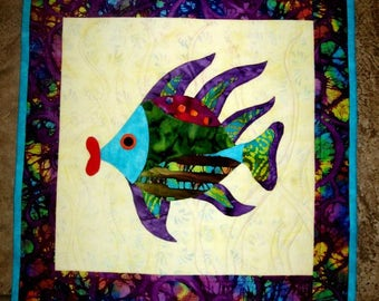 Wall Hanging Fish Quilt Art Applique Fish Lips Batik Aqua Purple Green Red Original Design