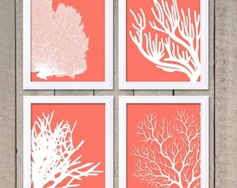 Coral Prints Pink White Set of 4 Coral Wall Art Coral Wall Decor Bathroom Home Decor Sea Ocean Nautical Beach Fan