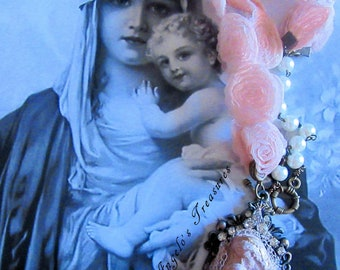 "Catholic ""Mother's Love"" Virgin Mary Altered Art Handmade Necklace"