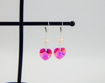 Heart Shaped Earrings/Heart Jewelry/Pink Jewelry/Earrings Pink/Mother's Day Gift/Under 30/Silver Heart Earring/Unique Earrings for Women