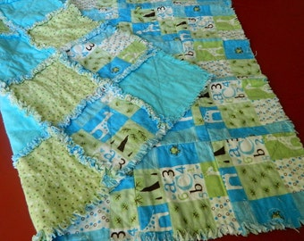 Handmade Baby's Cotton Flannel Turquoise And Green Rag Quilt Throw - Giraffes, Numbers and Letters