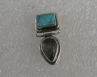 20mmx8mm  SINGLE  Turquoise GreenTourmaline Sterling  Post Earring