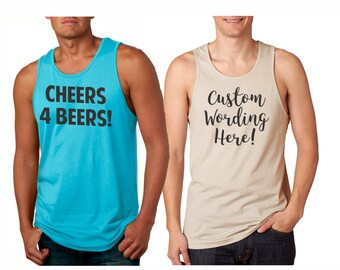 Custom Personalized MENS Tank Tops, pick your wording! Great for friends, parties or just yourself Workout tanks for men