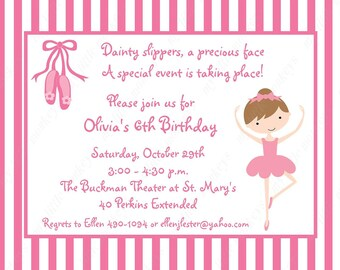 10 Ballerina Invitations with Envelopes.  Free Return Address Labels